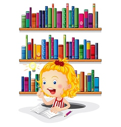 A girl studying in front bookshelves vector
