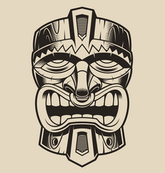 a wooden tiki mask vector image