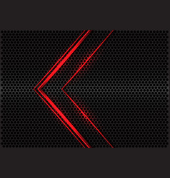 Abstract red light line arrow direction on grey vector
