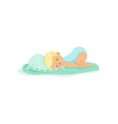 adorable little kid sleeping on a pillow cartoon vector image