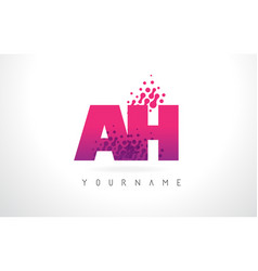 Ah a h letter logo with pink purple color vector