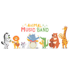 animal musicians characters funny animals play vector image