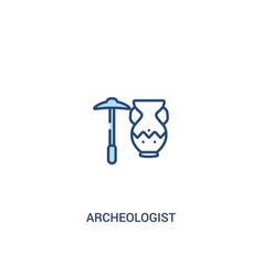 Archeologist concept 2 colored icon simple line vector