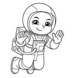 Astronaut girl floating in empty space bw vector