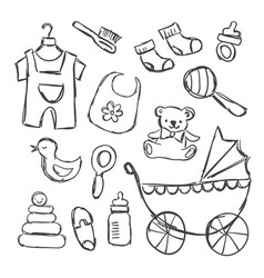 baby shower items doodles vector image