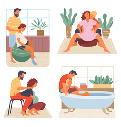Birth positions for pregnant woman young man vector