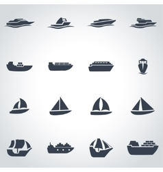 black ship and boat icon set vector image
