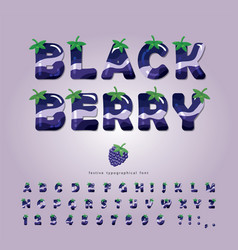 Blackberry summer font cartoon 3d alphabet vector