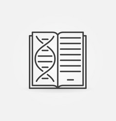 book with dna icon in thin line style vector image