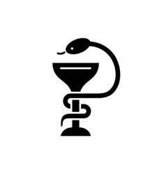 bowl with a snake black icon sign on vector image