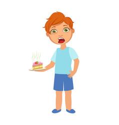 Boy with cake nauseoussick kid feeling unwell vector