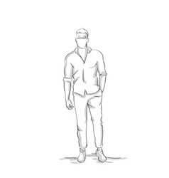 Business man silhouette holding hand in pocket vector