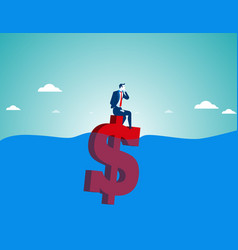 businessman sitting on money vector image