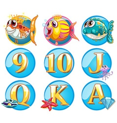 Buttons with fish and letters vector image