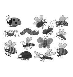 cartoon insects and bugs icons set vector image