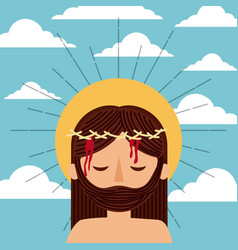 cartoon jesus christ with crown thorns clouds sky vector image