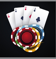 casino chips and playing card on the dark vector image