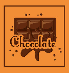 chocolate bar melted drops cocoa poster vector image
