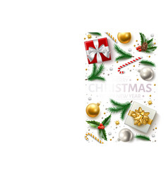 christmas background holly spruce present vector image