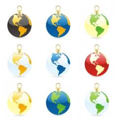 Christmas bulbs world globes vector