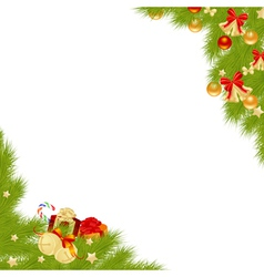 christmas corner fir vector image