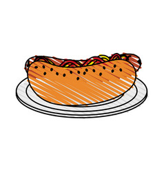 color crayon stripe cartoon hot dog on plate fast vector image