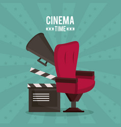 colorful poster of cinema time with clapperboard vector image