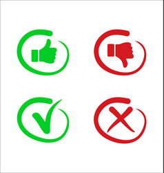 Confirm and deny checkmark and x icon button 2 vector