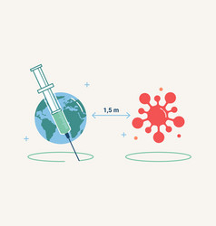 Coronavirus vaccination social distance measure vector