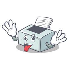 Crazy printer mascot cartoon style vector