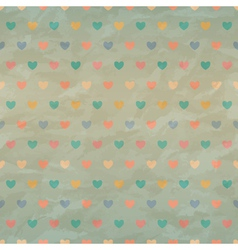 Crumpled retro seamless with color hearts vector image