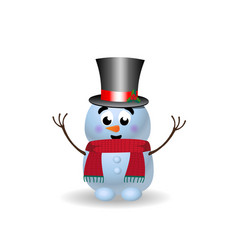 cute cartoon character of snowman with hands up vector image