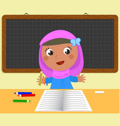 Cute muslim girl at school vector