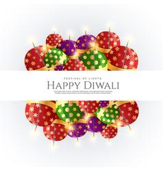 Diwali crackers bombs background design vector