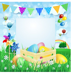 easter background with easter eggs and copy space vector image