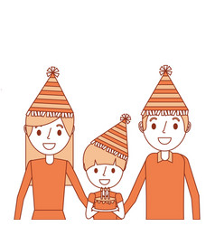 family parents and her son with party hat holding vector image