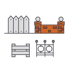fences line icon concept fences flat sign vector image