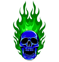 Graphic skull image template with flames vector