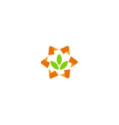 green leaf technology logo vector image
