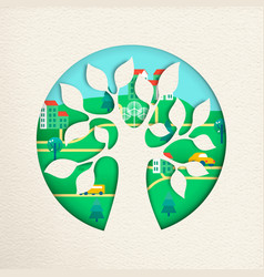 Green tree with eco friendly city for nature help vector