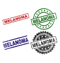 Grunge textured melanoma stamp seals vector