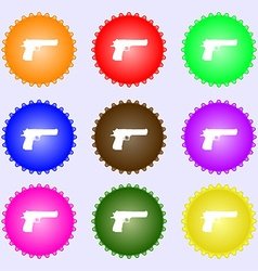 Gun icon sign A set of nine different colored vector