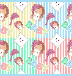 hand drawn cute lion and pattern set vector image