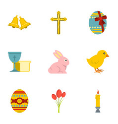 happy easter icon set flat style vector image