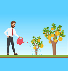 Happy stylish businessman watering a money tree vector