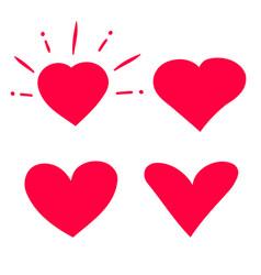 hearts doodle set cartoon vector image