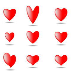 hearts set for valentine day isolated on white bac vector image