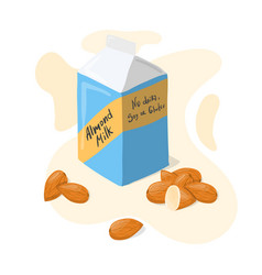 homemade almond milk tetra pack with whole vector image