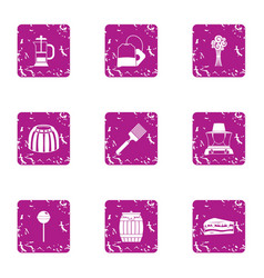 Honeyed icons set grunge style vector