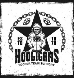 Hooligans vintage emblem with skeleton in hoodie vector